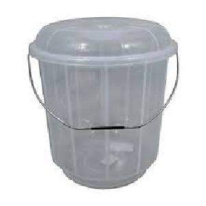 Clear Bucket With Lid And Steel Handle